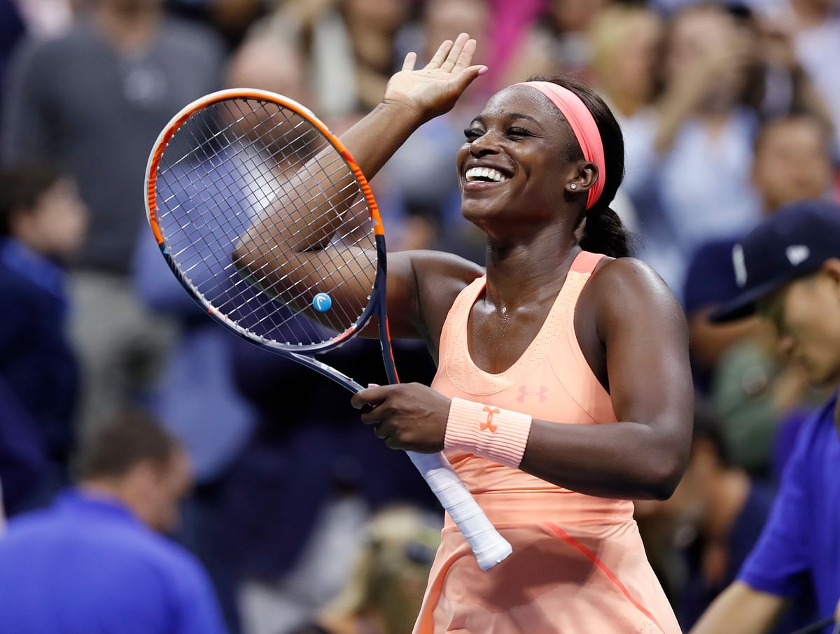 Sloane Stephens celebrates after defeating Venus Williams.