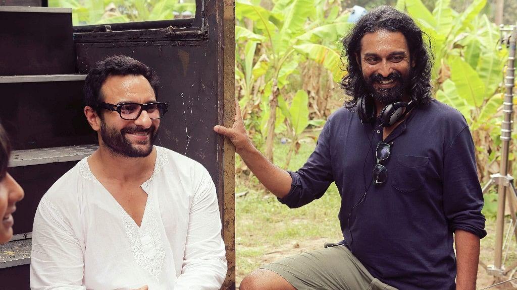 Filmmaker Raja Krishna Menon with Saif Ali Khan on the sets of <i>Chef.</i>&nbsp;