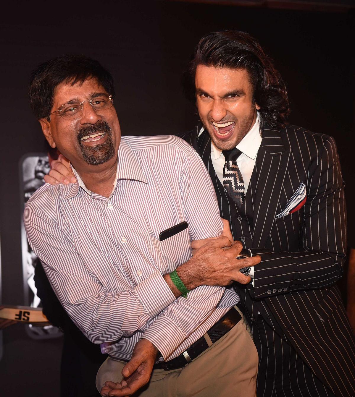 Ranveer goofs around with Krishnamachari Srikanth.
