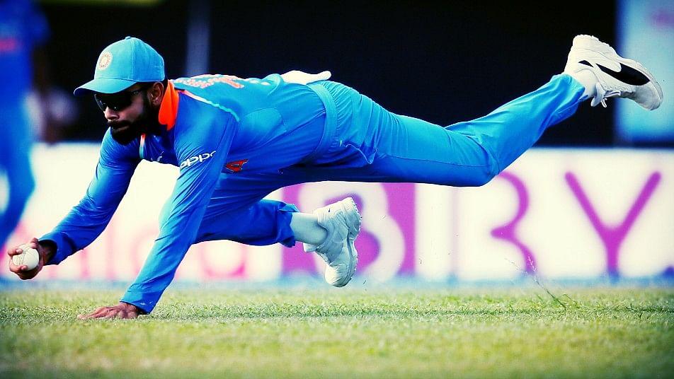 Virat Kohli fields the ball during an ODI.