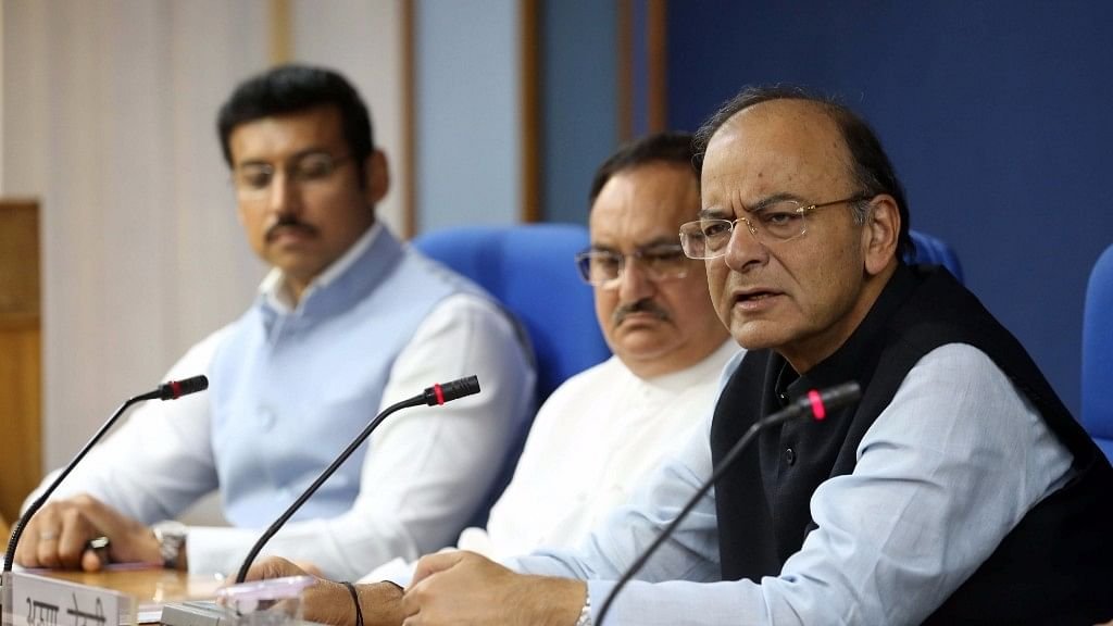 Union Finance Minister Arun Jaitley addresses a press conference after a cabinet meeting chaired by Prime Minister Narendra Modi