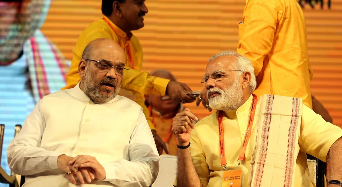 Prime Minister Narendra Modi and BJP chief Amit Shah at the BJP national executive meeting in New Delhi on 25 September 2017.