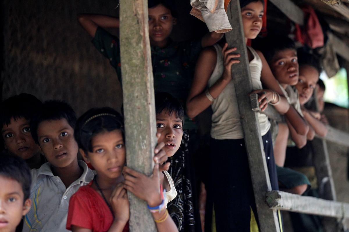 Rohingya Muslim children stand in U Shey Kya village outside Maungdaw in Rakhine state, Myanmar.