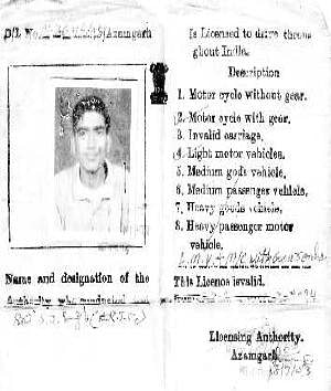 Copy of the first page of Atif Amin's driving license.