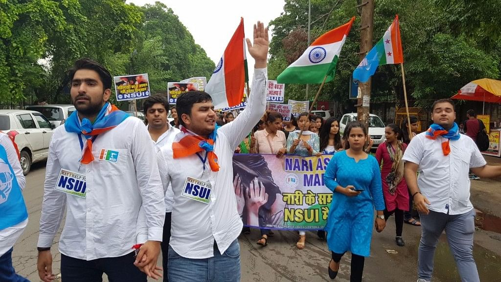 NSUI's presidential candidate Rocky Tuseed (centre) campaigning.