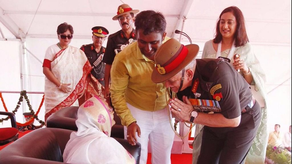 Army Chief General Bipin Rawat bows down to 1965 Indo-Pak war hero Havildar Abdul Hamid's 80-year-old widow on Sunday.