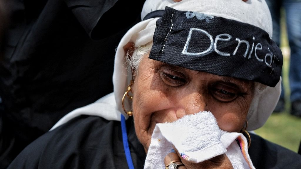 An old woman at a demonstration organised by the APDP in Srinagar.