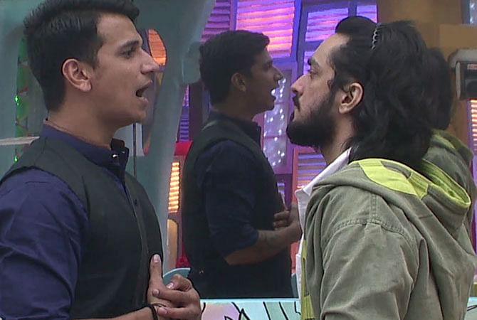 Prince Narula and Rishabh Sinha during and argument in <i>Bigg Boss</i> house.