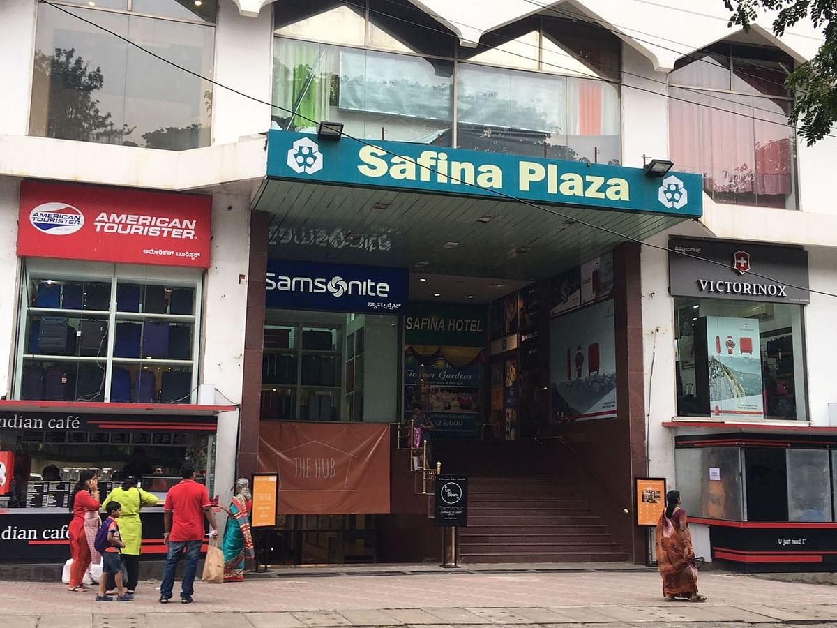 Safina Plaza in Infantry Road, Bengaluru, where the shopkeeper says he can't afford CCTV coverage.