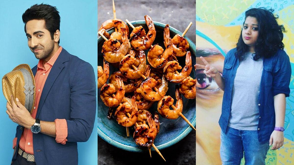 Ayushmann Khurrana, a plate of BBQ prawns, and Almas Khateeb from <b>The Quint</b>.