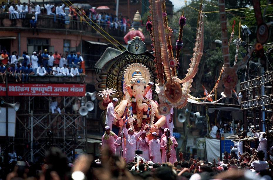 Lalbaugcha Raja being taken for immersion.