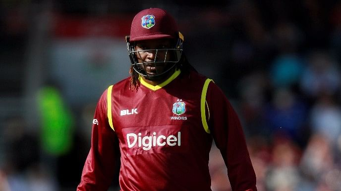 Chris Gayle walks back to the pavilion after getting out in the first ODI against England.