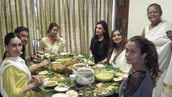 Karisma Kapoor celebrates Onam with Malaika and Amrita Arora and family.