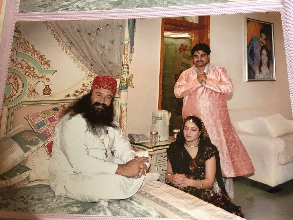 An old photograph of Gurmeet Ram Rahim, Honeypreet and Vishwas Gupta.