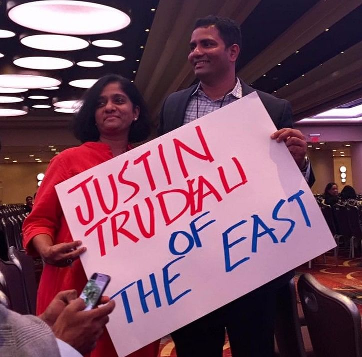Rahul Gandhi fans in New York carrying a poster that reads: Justin Trudeau of the East.
