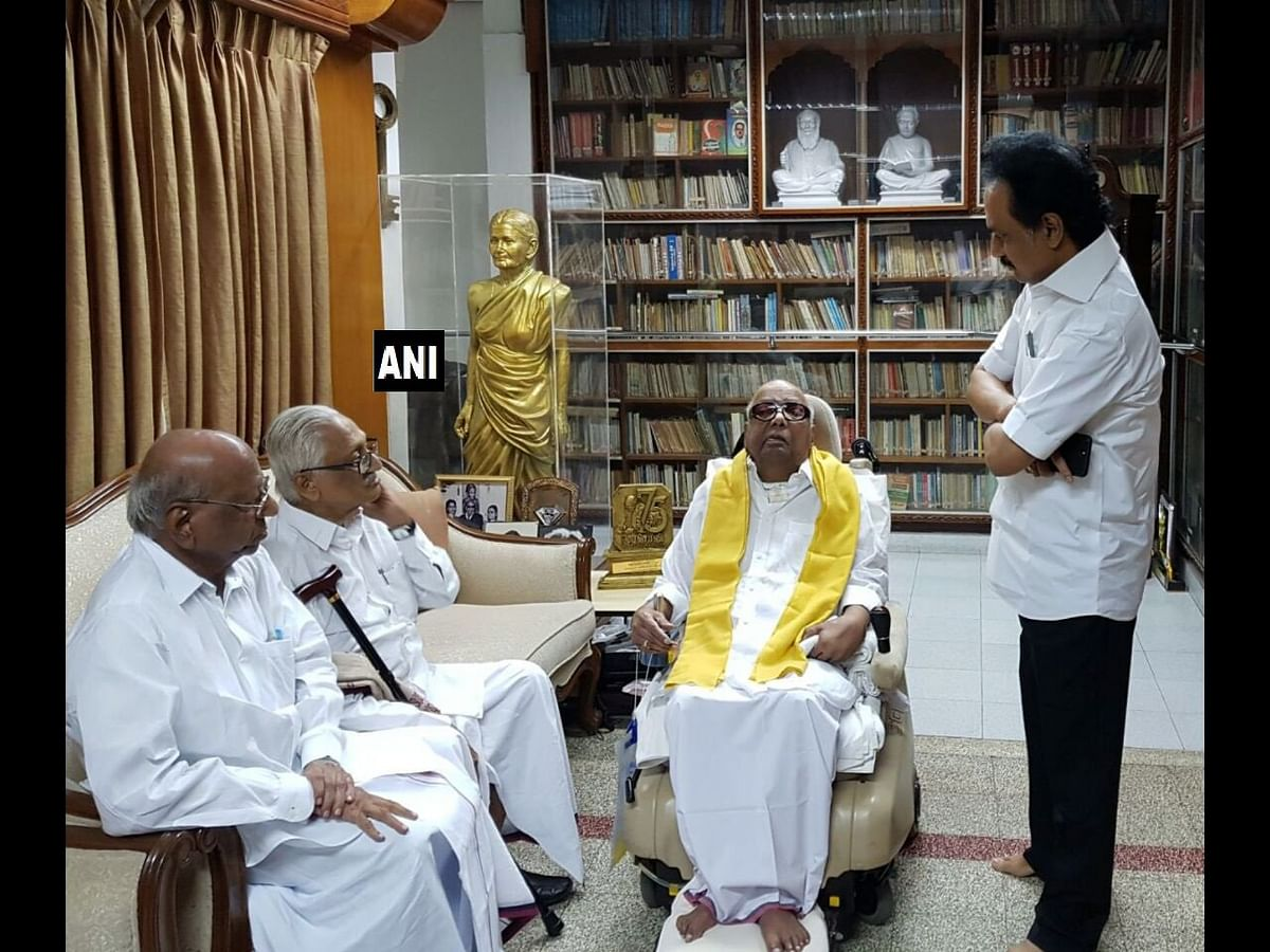 Oppositions party DMK released this photograph of the party chief after rumours were strife about his demise.