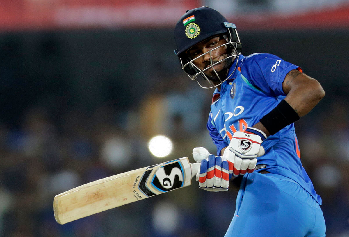 Hardik Pandya plays a shot during the third ODI against Australia.