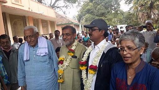 HS Doreswamy, Sirimane Nagaraj, Noor Shridhar and Gauri Lankesh after announcing the return of the naxalites to mainstream.