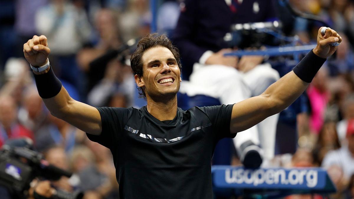 Rafael Nadal celebrates after winning the 2017 US Open.