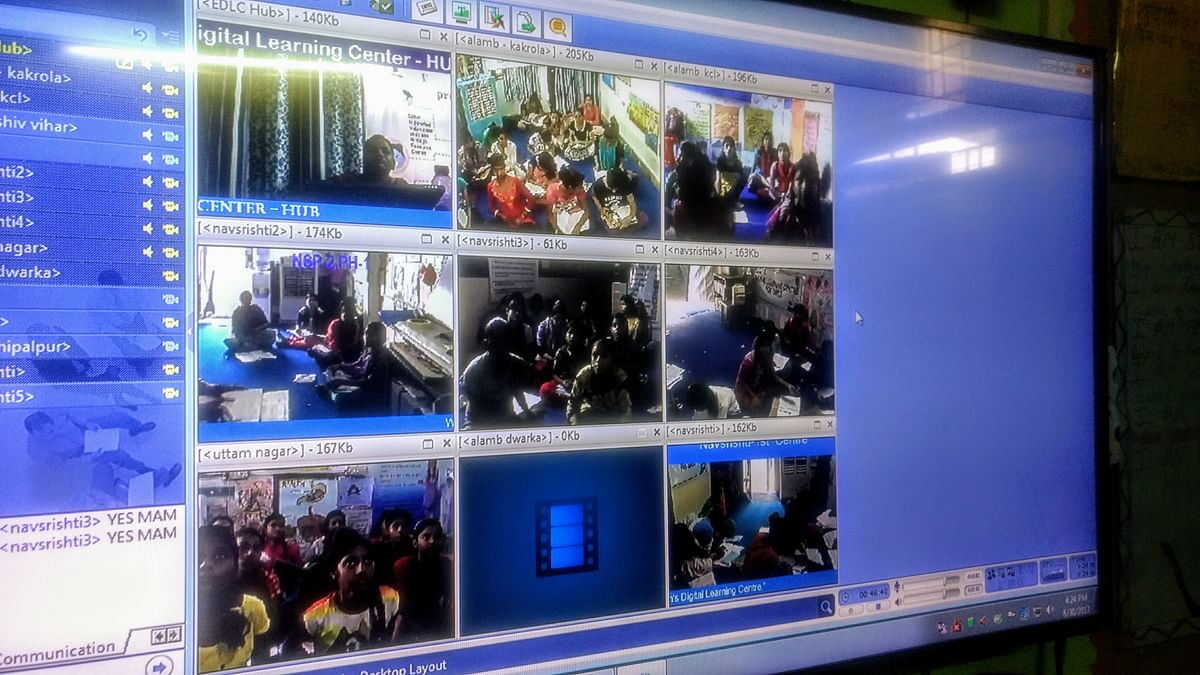 Are all students present? Each classroom is broadcast to the teacher through this screen, where she monitors discipline and answers questions.