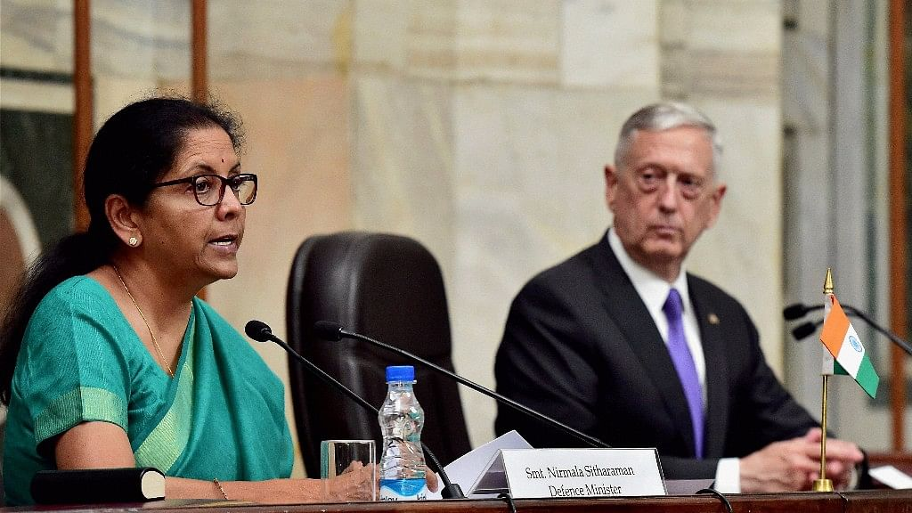 Defence Minister Nirmala Sitharaman with her US counterpart James Mattis.