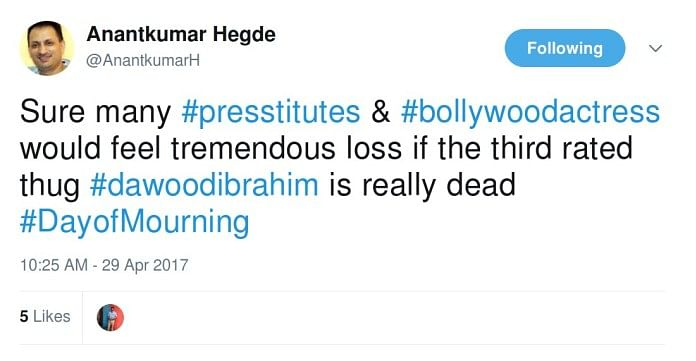 What Minister Anantkumar Hegde's Tweets Tell Us About His Mindset
