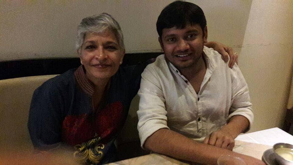 Gauri Lankesh with Kanhaiya Kumar.