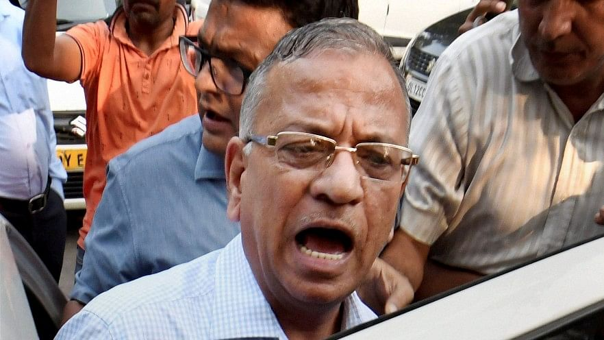 BHU Vice Chancellor Girish Chandra Tripathi talks to the media after a meeting at IIC in New Delhi on Tuesday.