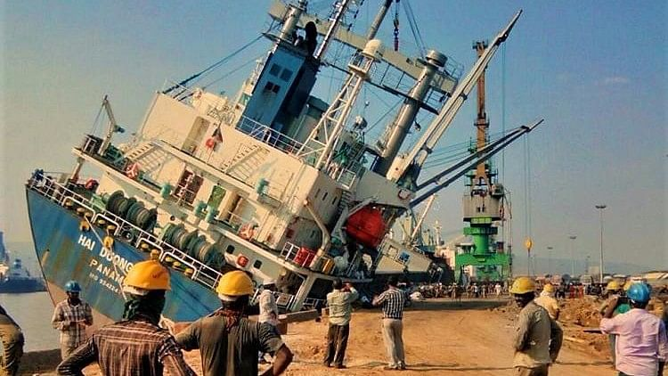 Watch: Mishap at Vizag Port in Andhra, Huge Ship Tilts Dangerously