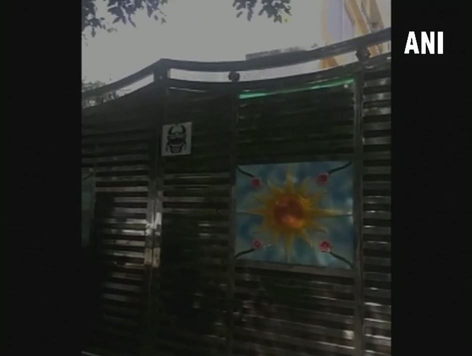 Visuals outside Delhi residence where the raid took place.