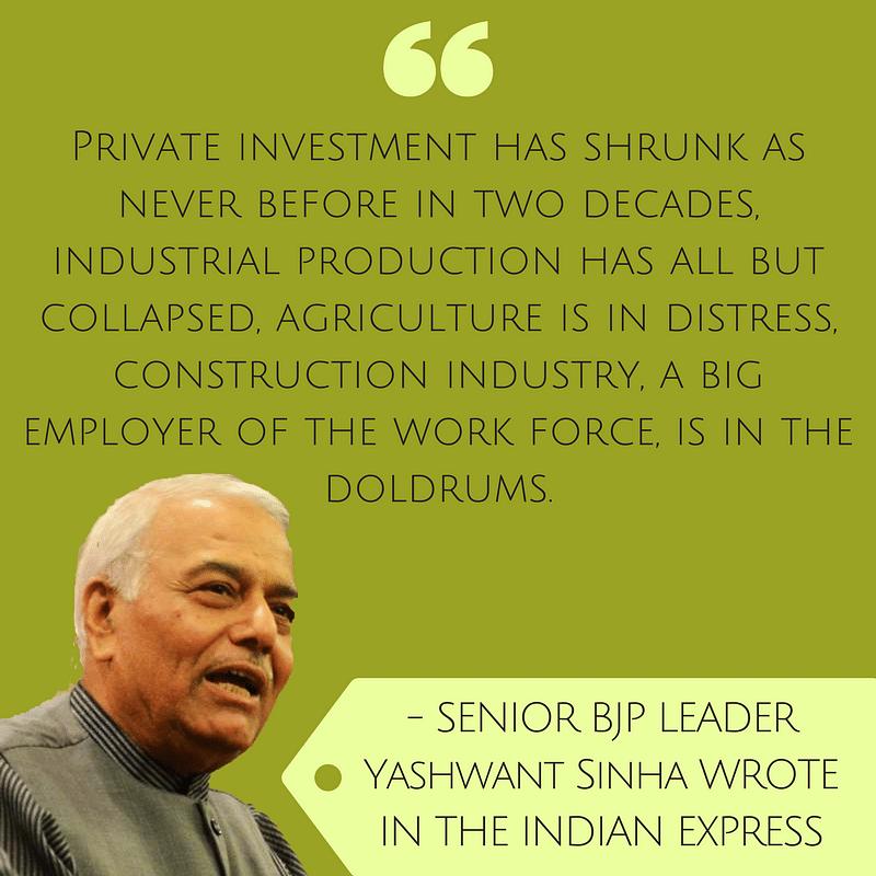 "Yashwant Sinha Writes on the ""Mess Jaitley Made of the Economy"""