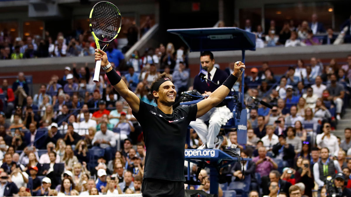 Rafael Nadal, of Spain, reacts after beating Kevin Anderson, of South Africa, to win the men's singles final of the U.S. Open