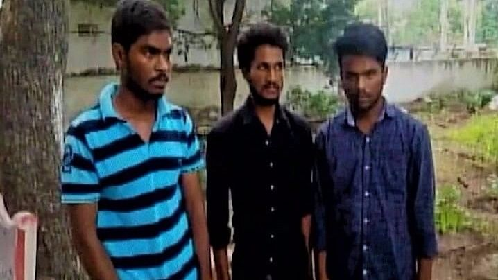 Three men who were arrested by Andhra Pradesh police for allegedly gang-raping a girl.