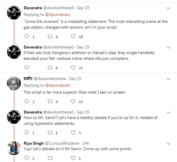 People react to the original <i>Simran</i> script.&nbsp;
