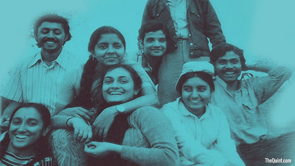 An old picture of Nirmala Sitharaman with her friends from JNU.