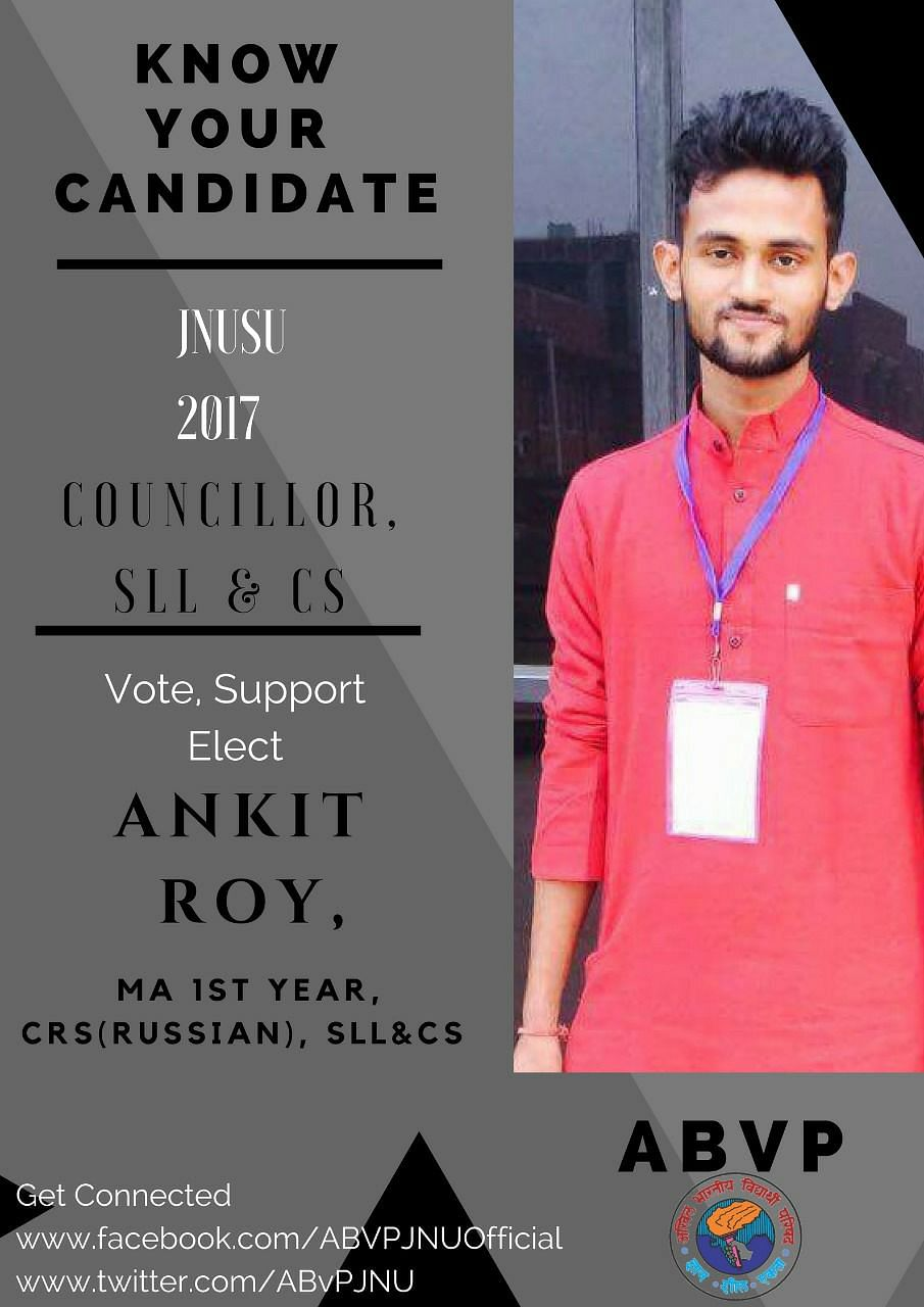 A poster for ABVP's Ankit Roy.