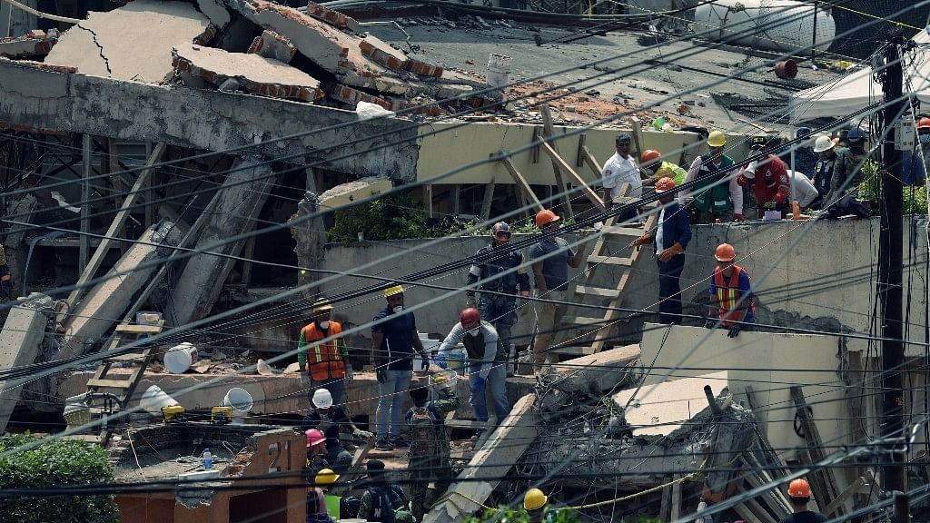 The rubble of a Mexico City school that collapsed due to Tuesday's 7.1 magnitude earthquake.