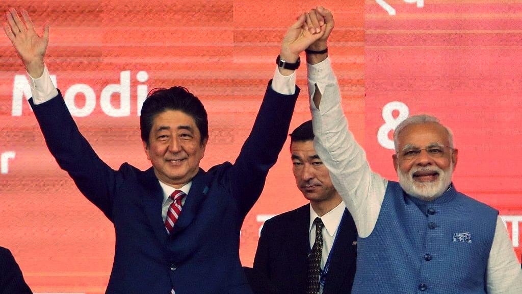 PM Narendra Modi with Japanese PM Shinzo Abe.