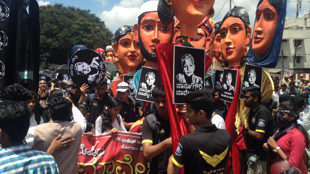"""Procession to protest killing of <a href=""""https://twitter.com/Iamgauri_"""">#GauriLankesh</a> in Anand Rao Circle, Bengaluru."""