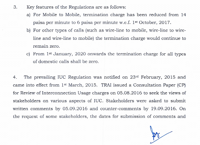 Current IUC rates as proposed by TRAI.