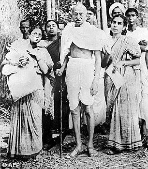 Mahatma Gandhi at the Valmiki temple.