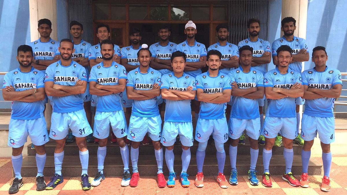 The Indian men's hockey team pose for a team picture before the tour of Belgium and Netherlands in 2017.