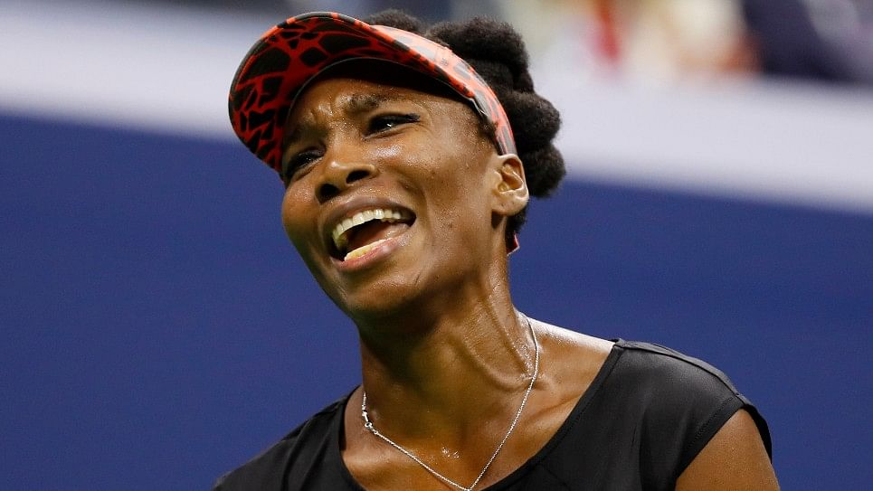 Venus Williams reacts during her US Open semi-final against Sloane Stephens.
