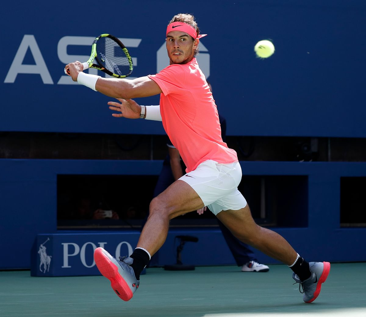 Rafael Nadal plays a shot during his fourth round match.