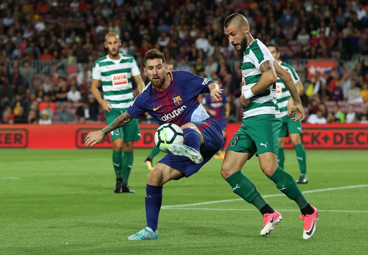 Lionel Messi in action.