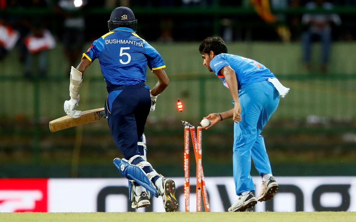 India's Bhuvneshwar Kumar runs out Sri Lanka's Dushmantha Chameera during an ODI.