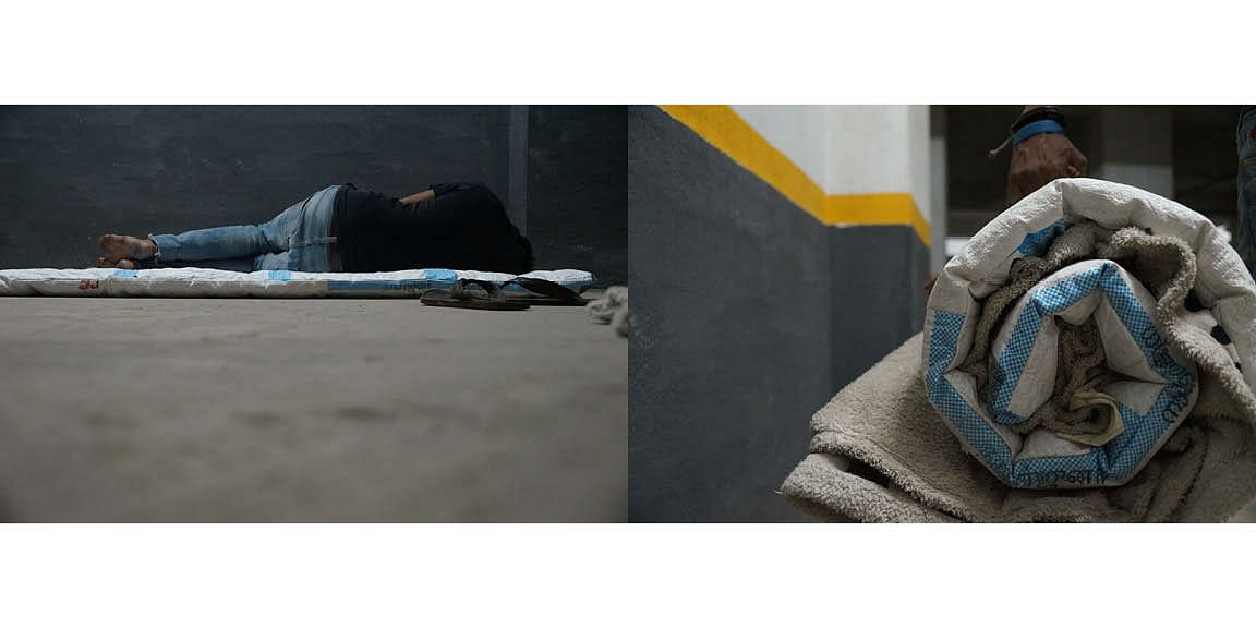 A migrant worker sleeping on one of these upcycled cement holdalls.