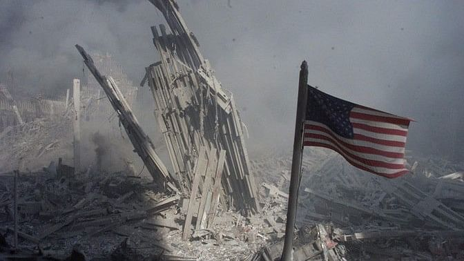 An American flag near the base of the destroyed World Trade Center in New York.