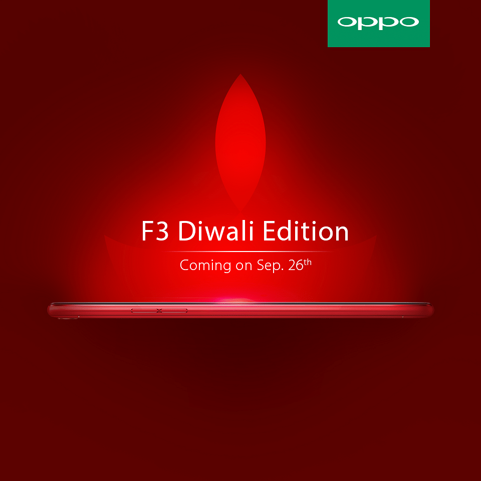 The OPPO F3 Diwali Edition Selfie Expert and Leader comes in a vivid red with a metallic luster that really makes it stand out (Photo: Oppo)