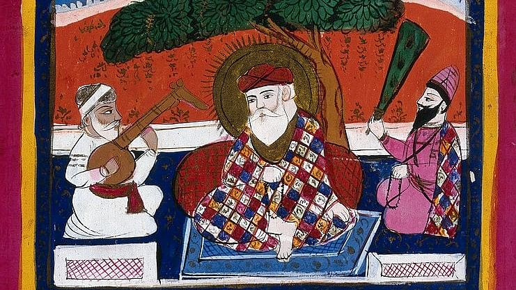 Guru Nanak attended by his musician and holy man.